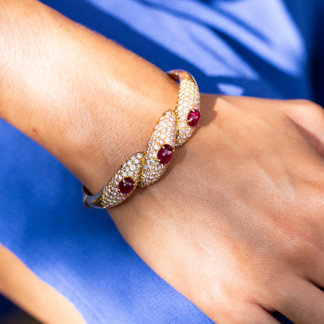 Italian Diamond, Ruby, and 18k Gold Bangle Bracelet