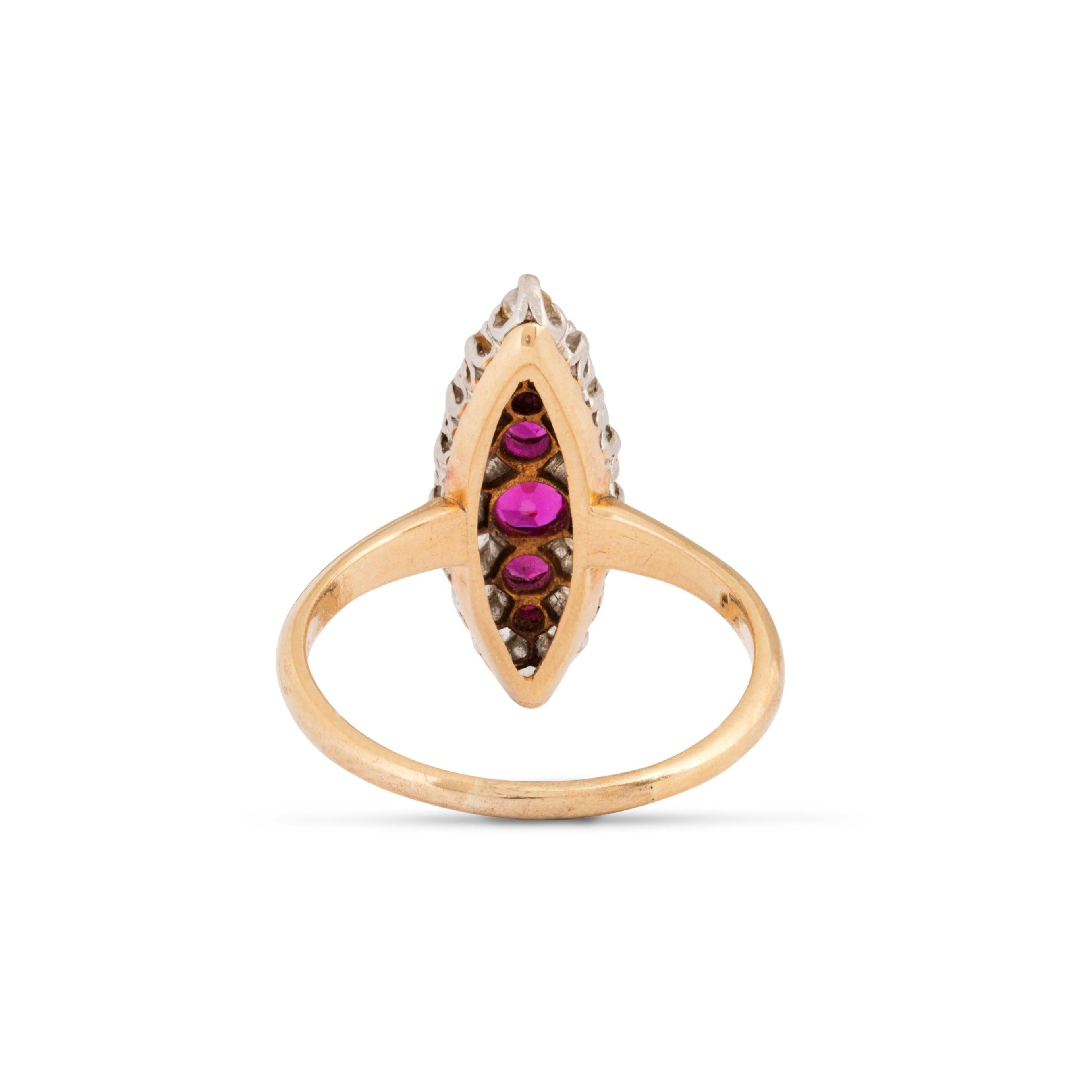 Victorian Ruby, Old Mine Cut Diamond, Platinum, and 12k Gold Navette Ring