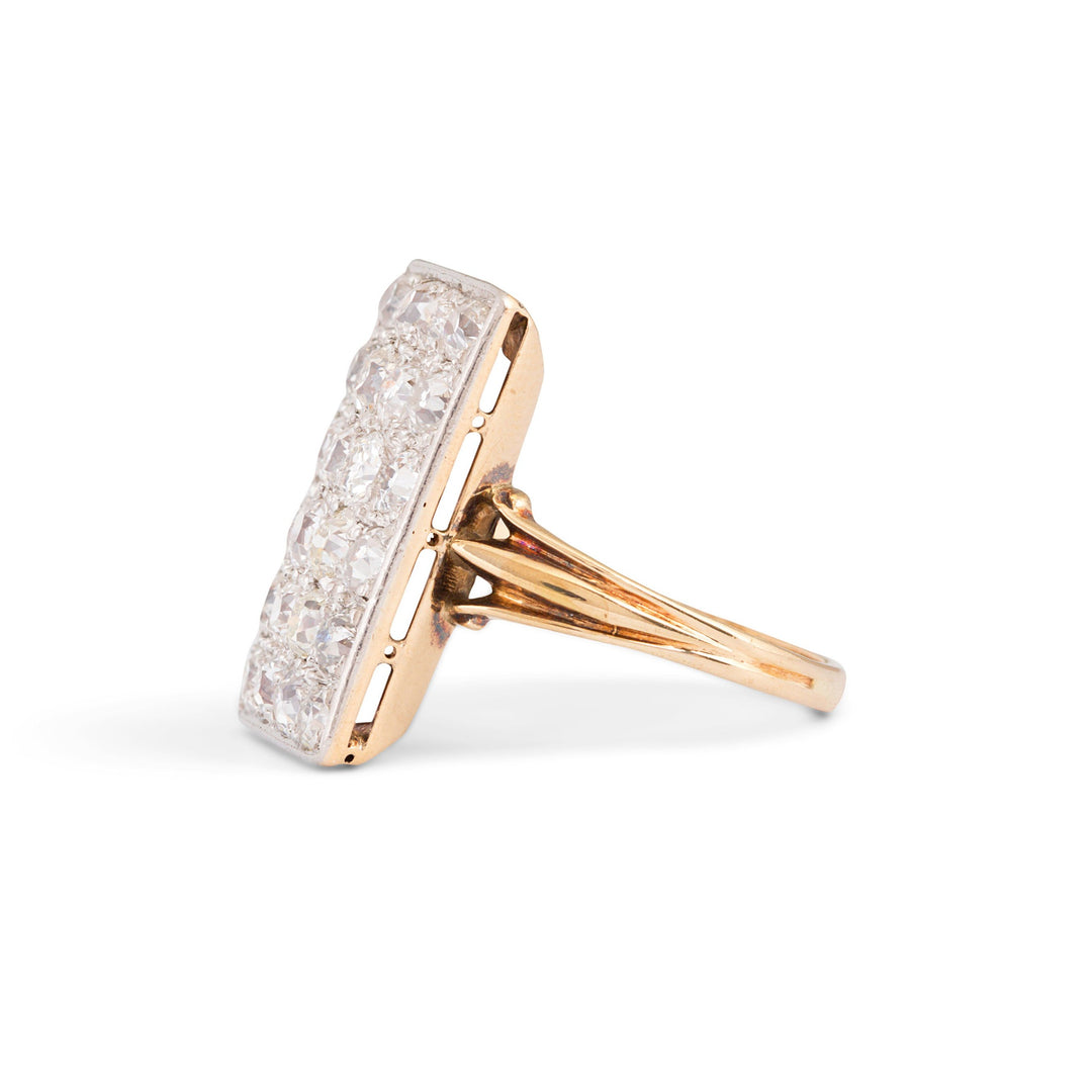 Old Mine Cut Diamond, Platinum, and Gold Rectangular Ring