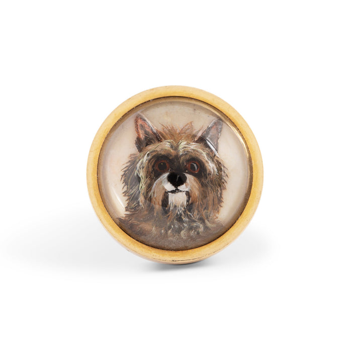 Victorian Essex Crystal Gold Dog Ring