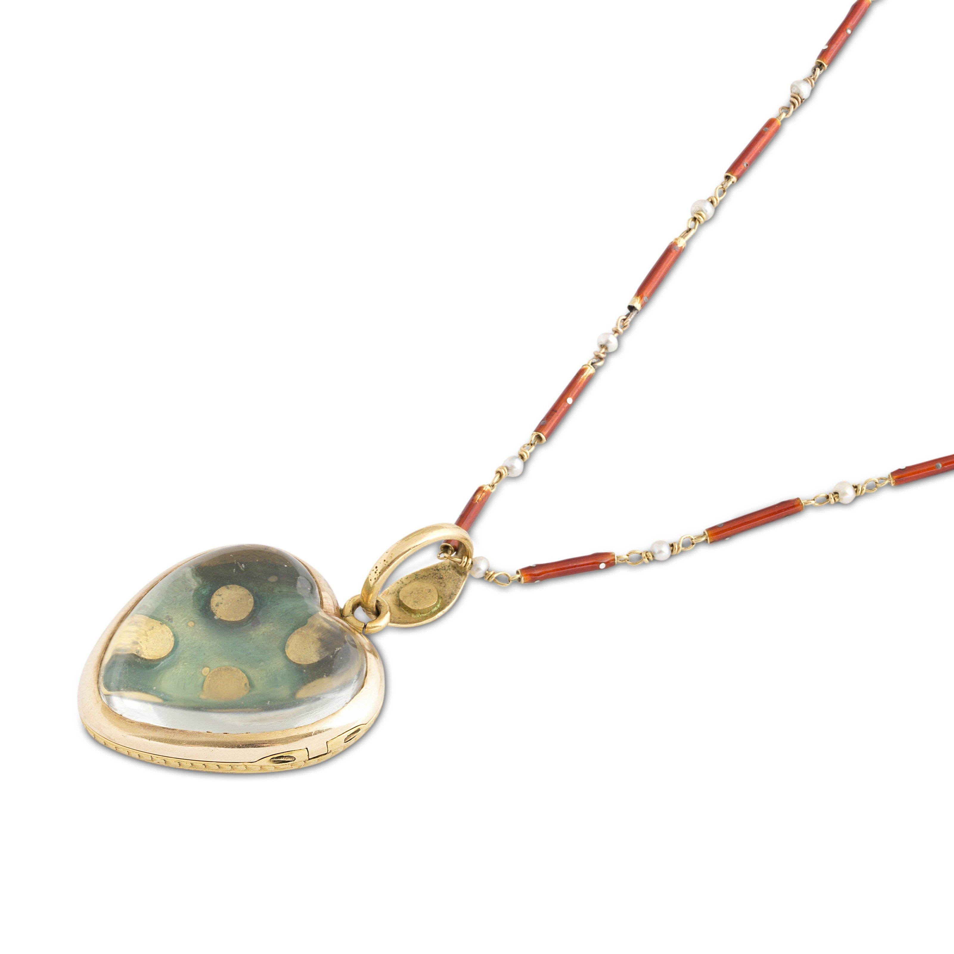 Victorian Guillouche Enamel, Pearl, and 14k Gold Heart Locket and Chain