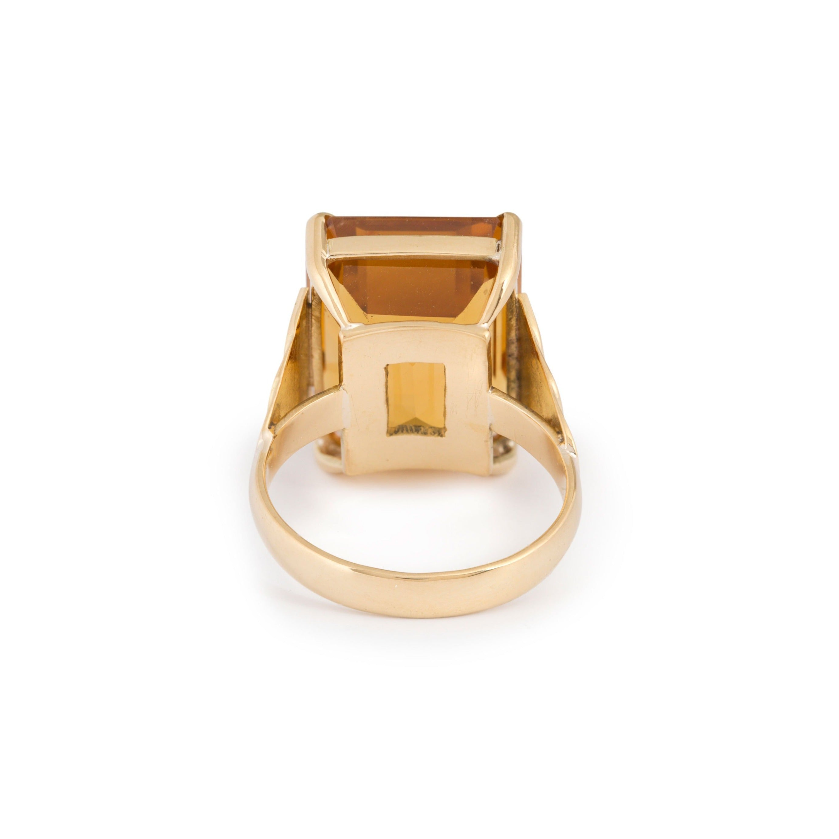Citrine and Stepped 14k Gold Ring