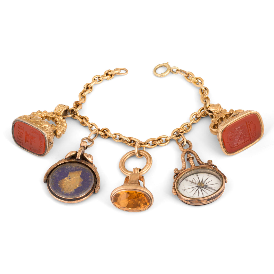 Victorian Citrine, Carnelian, and 14k Gold Fob Charm Bracelet