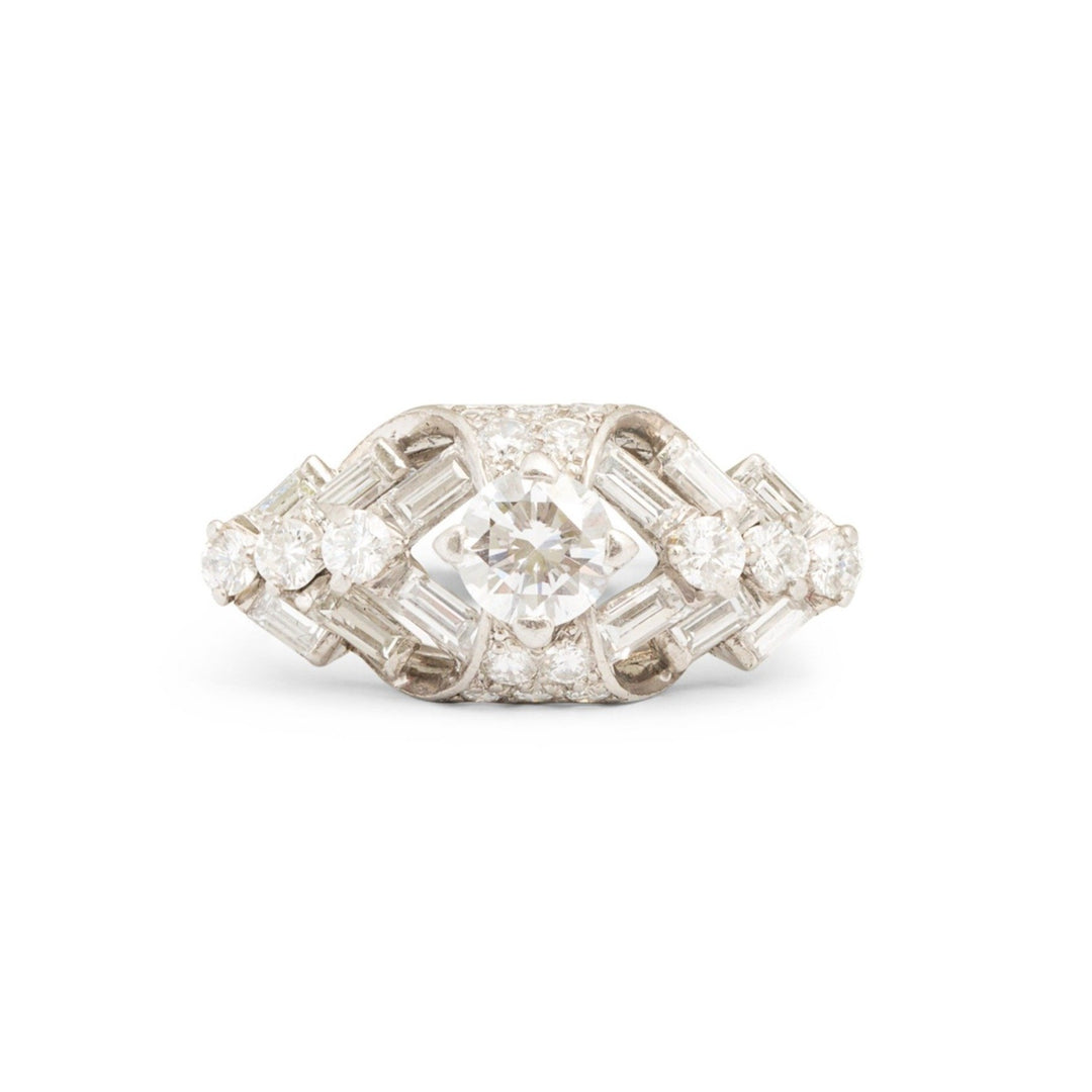 1950s Round and Baguette Diamond Platinum Ring