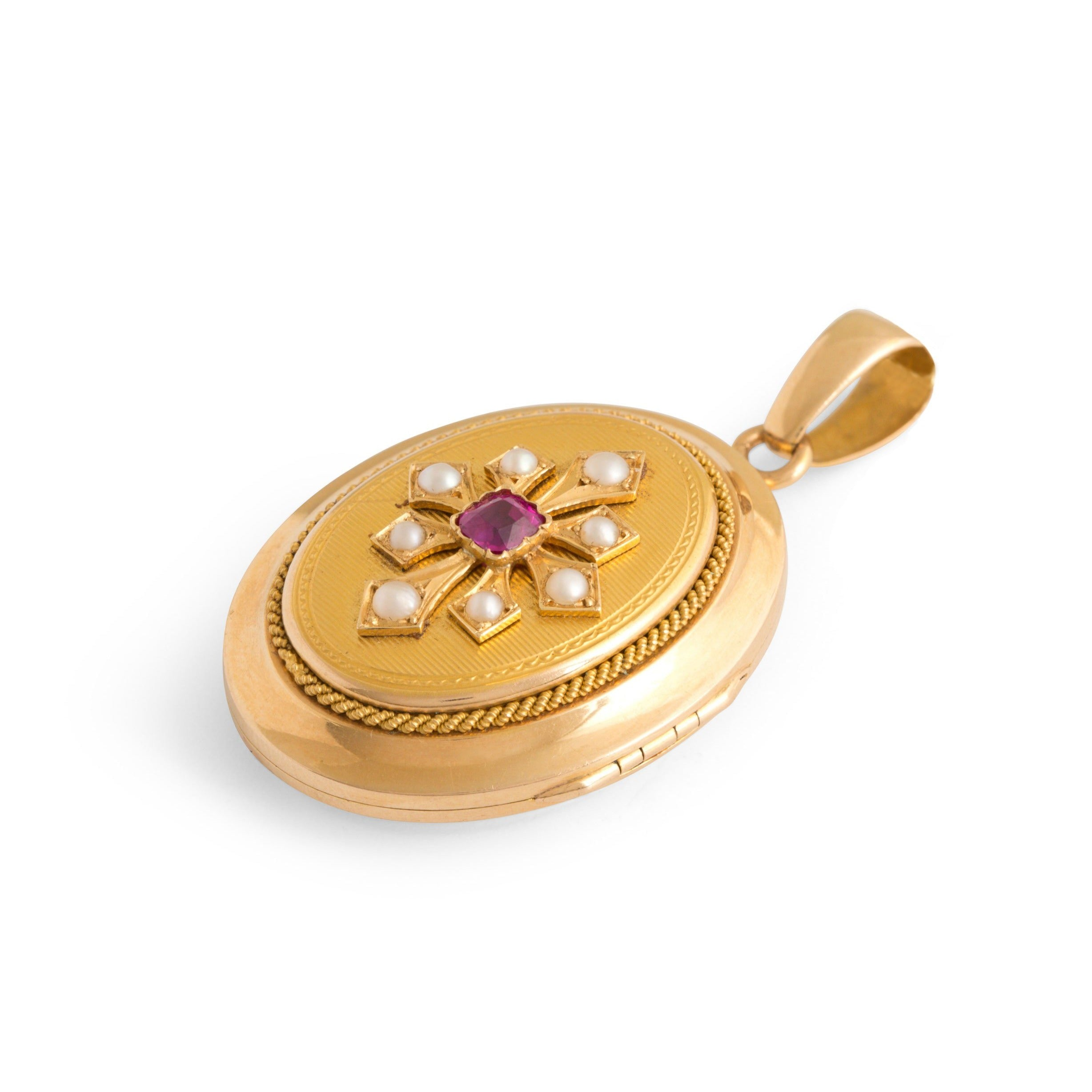 French Victorian Ruby and Pearl 18k Gold Locket