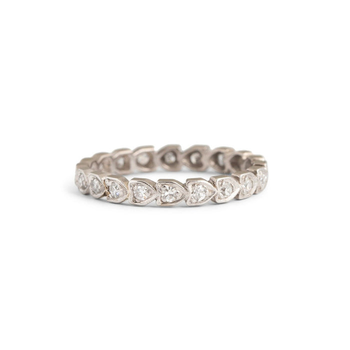 Heart Shaped Platinum and Diamond Eternity Band
