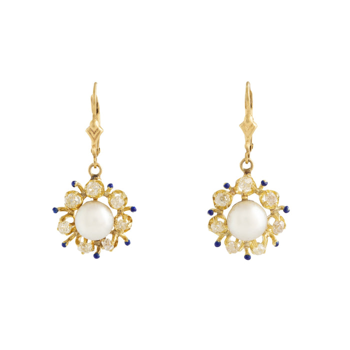 Victorian Pearl and Old Mine Cut Diamond Cluster 18k Gold Earrings