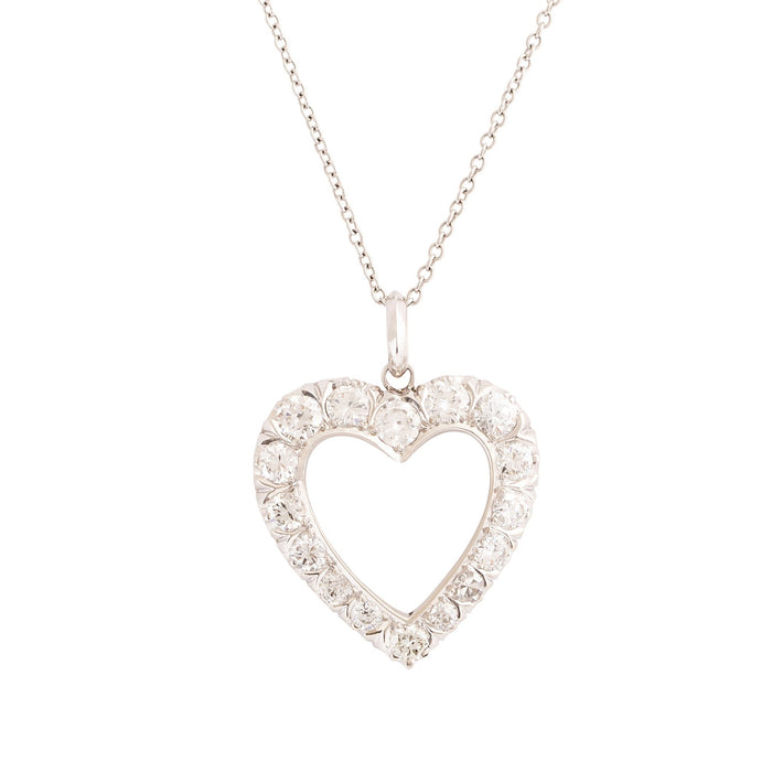 Diamond and 14K White Gold Open Heart Necklace