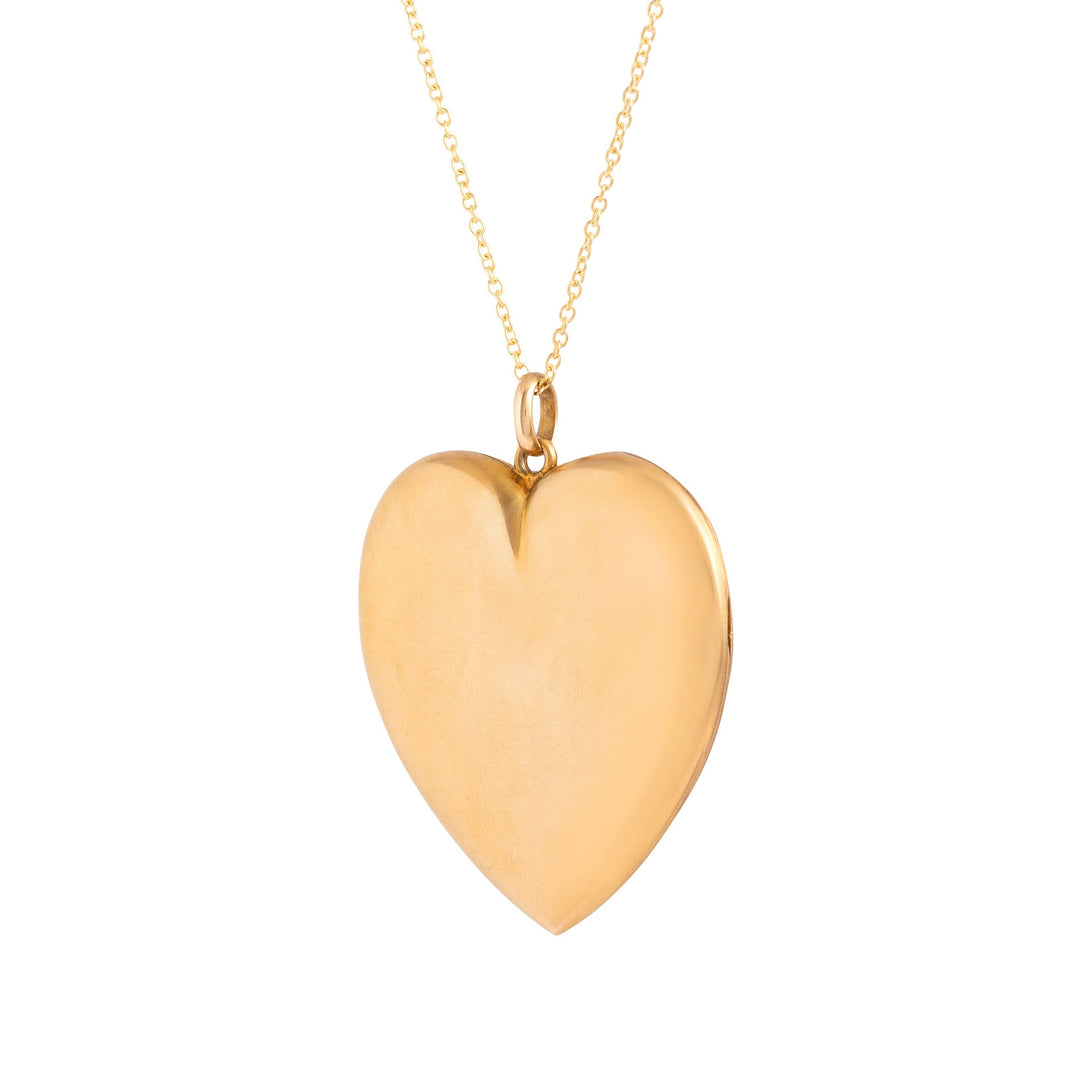 Victorian Diamond and 10k Gold Heart Large Locket