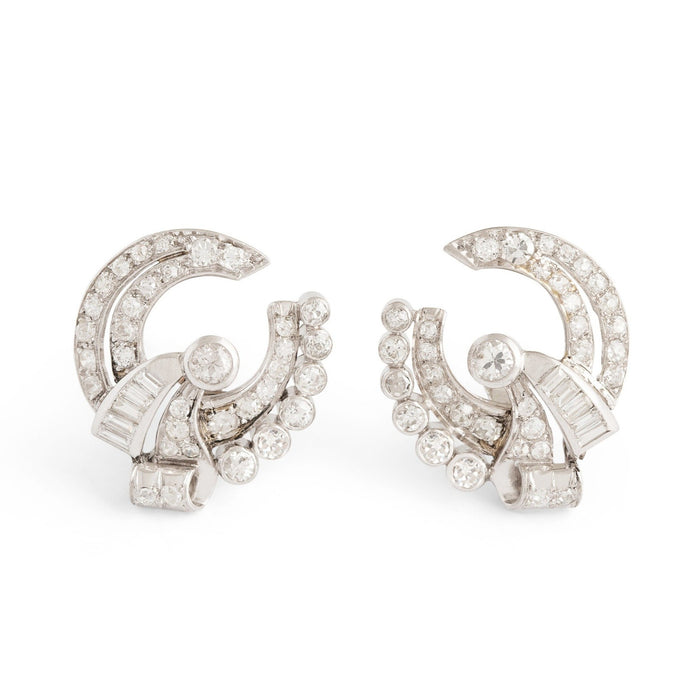 Retro Diamond and Platinum Button Earrings