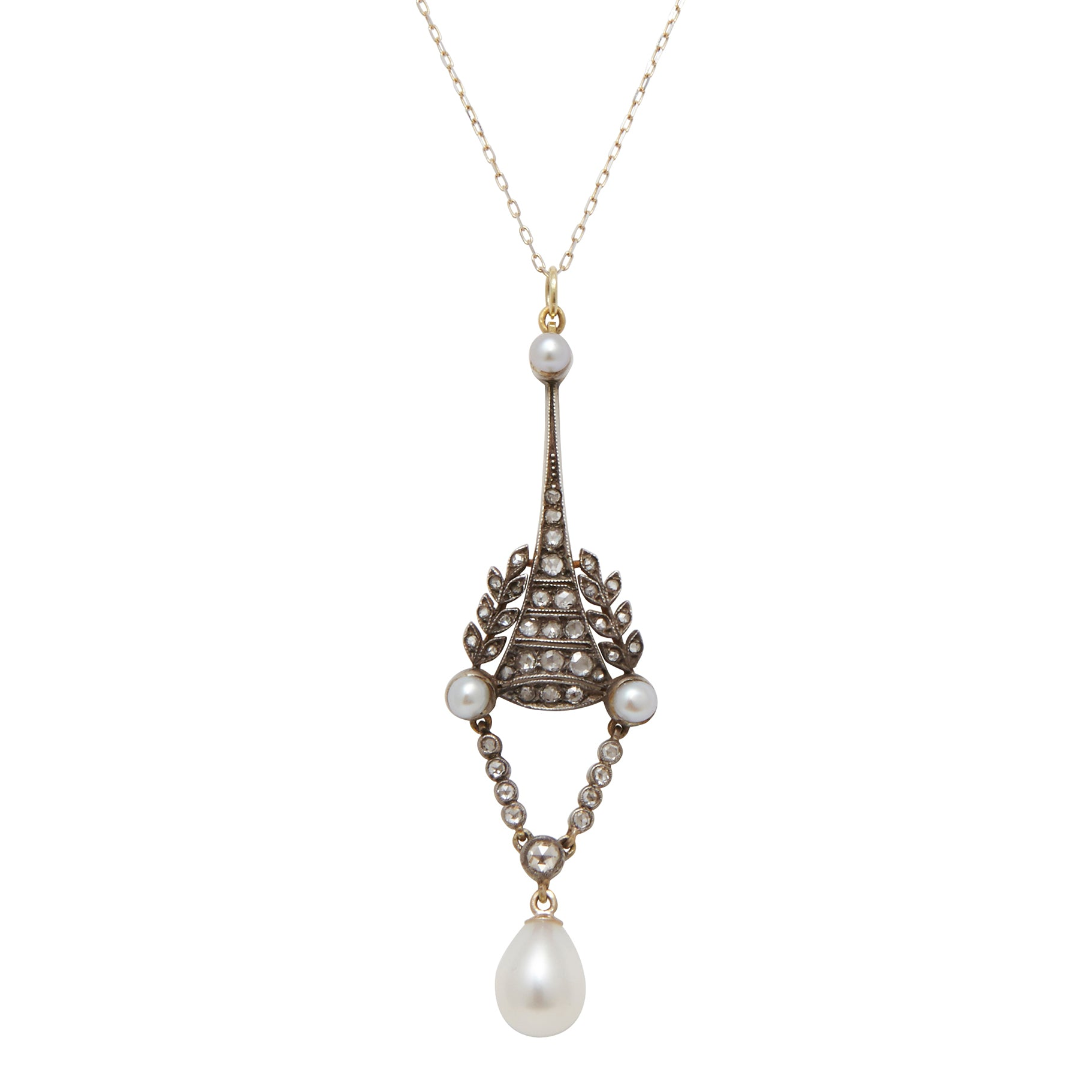 Victorian Rose Cut Diamond And Pearl Necklace