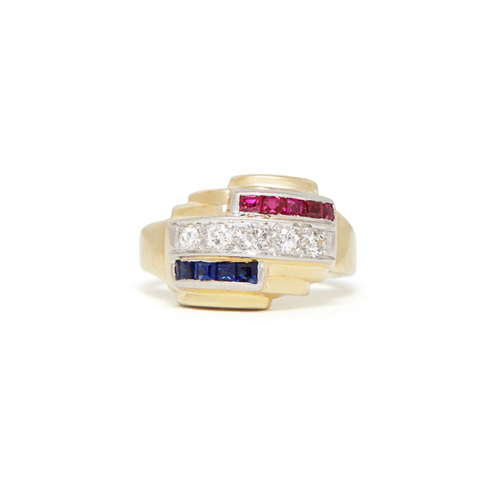 Retro Diamond, Ruby, Sapphire 14k Gold And Platinum Ring