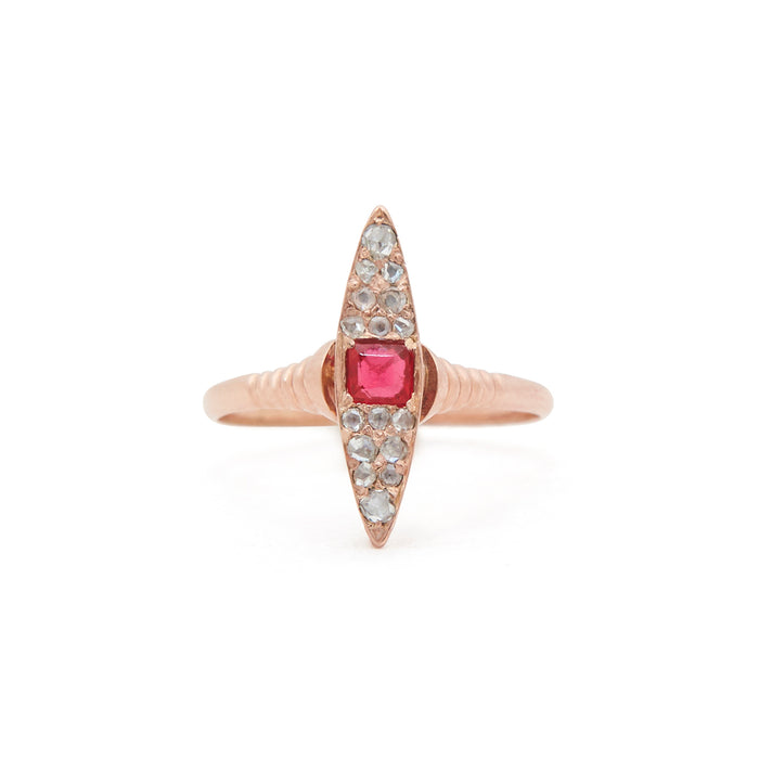 Victorian Navette Rose Cut Diamond and 14k Gold Ring