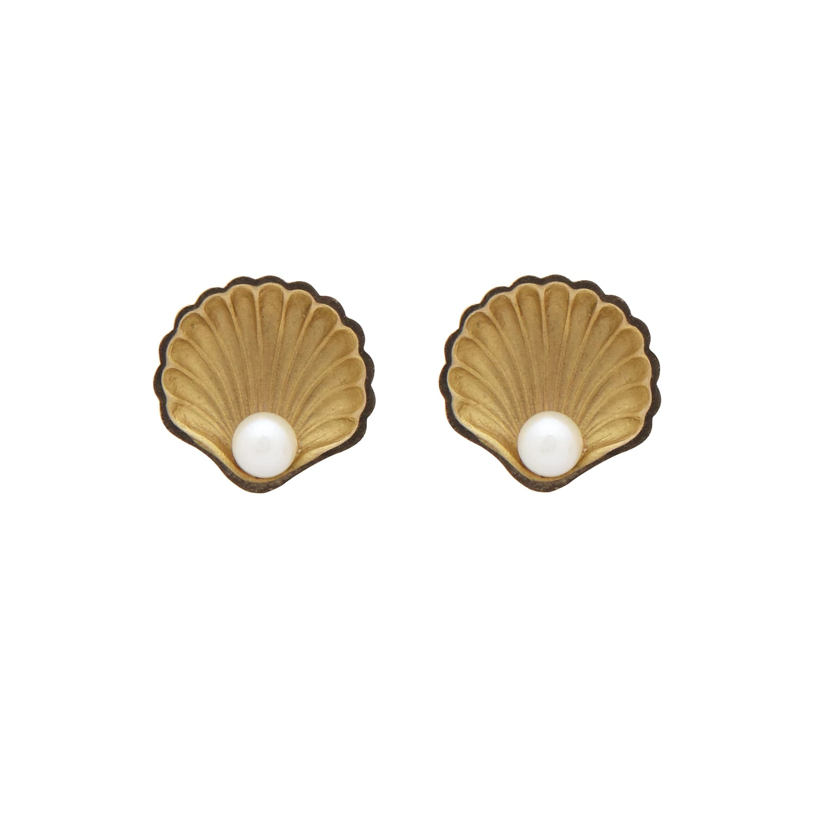Gold And Pearl Shell Stud Earrings