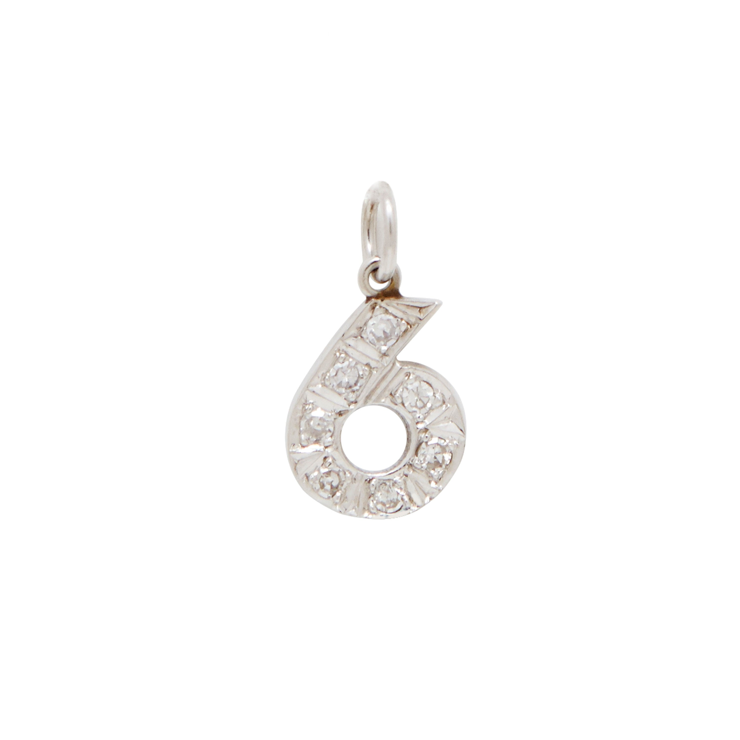 "Diamond Number ""6"" 14k Gold Charm"