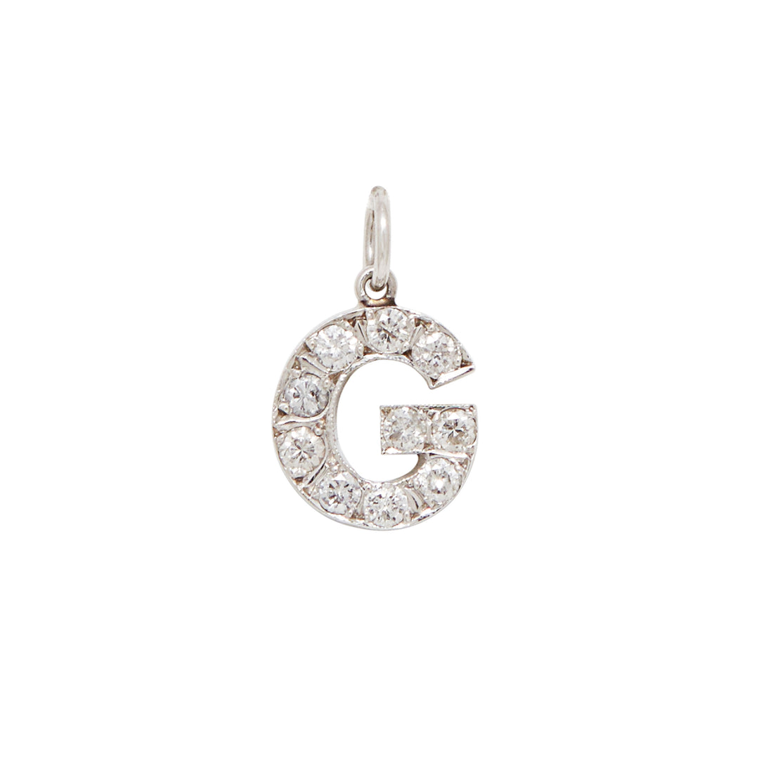 "Diamond Letter ""G"" 14k Gold Charm"