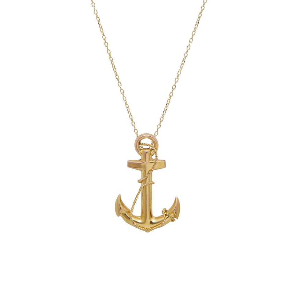 English Gold Anchor Pendant Necklace