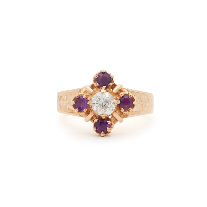 Victorian Amethyst And Diamond 14k Gold Ring