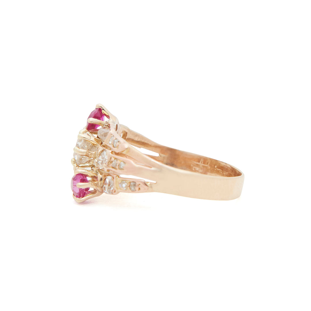 Victorian Asymmetrical Ruby And Diamond 14k Gold Ring