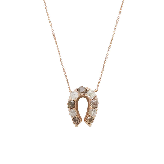 White And Brown Old Mine Cut Diamond Horseshoe Necklace