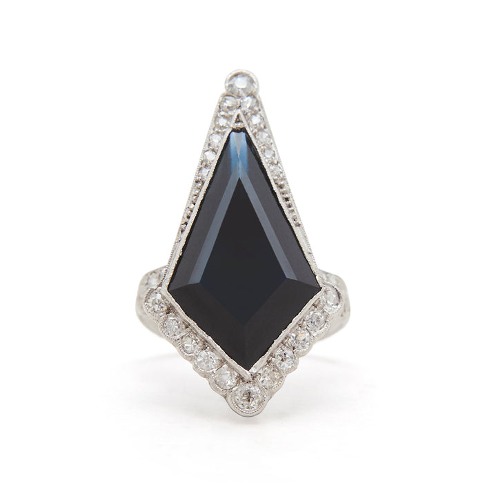 Art Deco Diamond and Kite Sapphire Platinum Ring