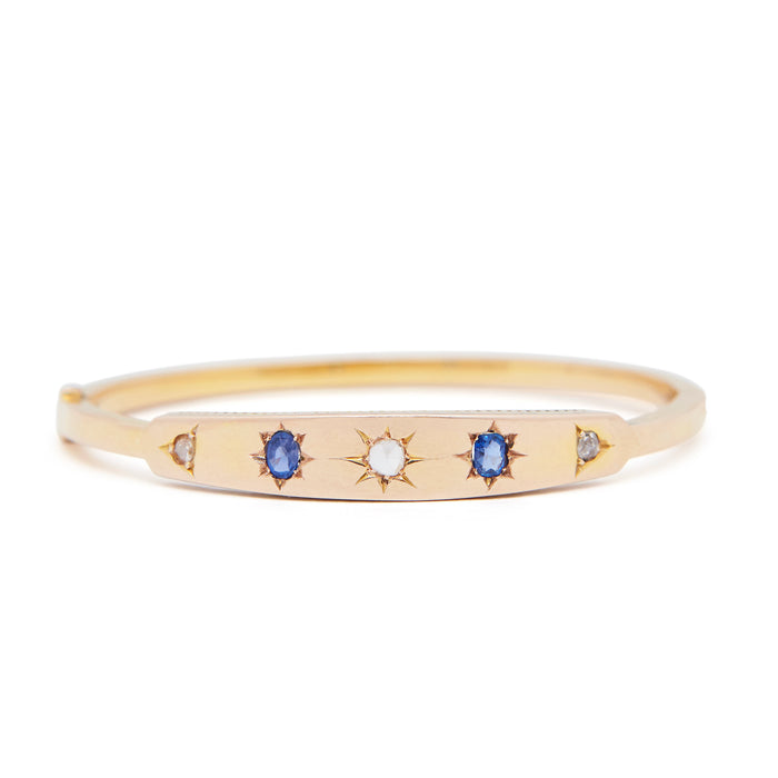 Victorian Sapphire, Diamond, and 14K Gold Gypsy Bangle Bracelet