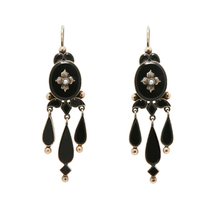 Victorian Onyx and 14K Gold Chandelier Earrings