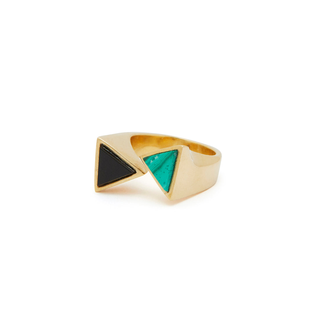 1970s Malachite And Onyx 18k Gold Ring