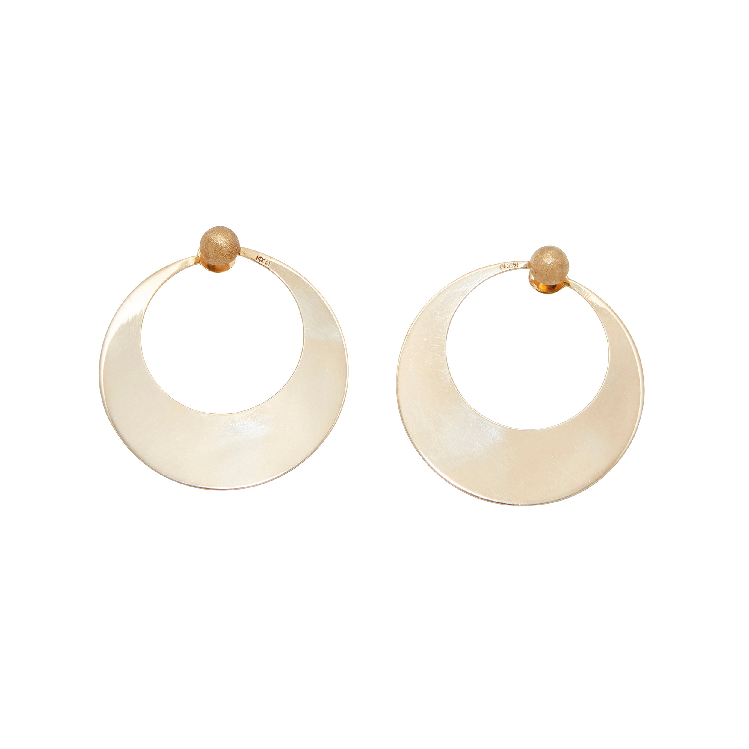 1970s Reversible 14K Gold Circular Hoops