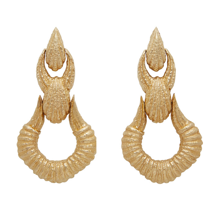 Large Textured 14K Gold Door Knocker Drop Earrings