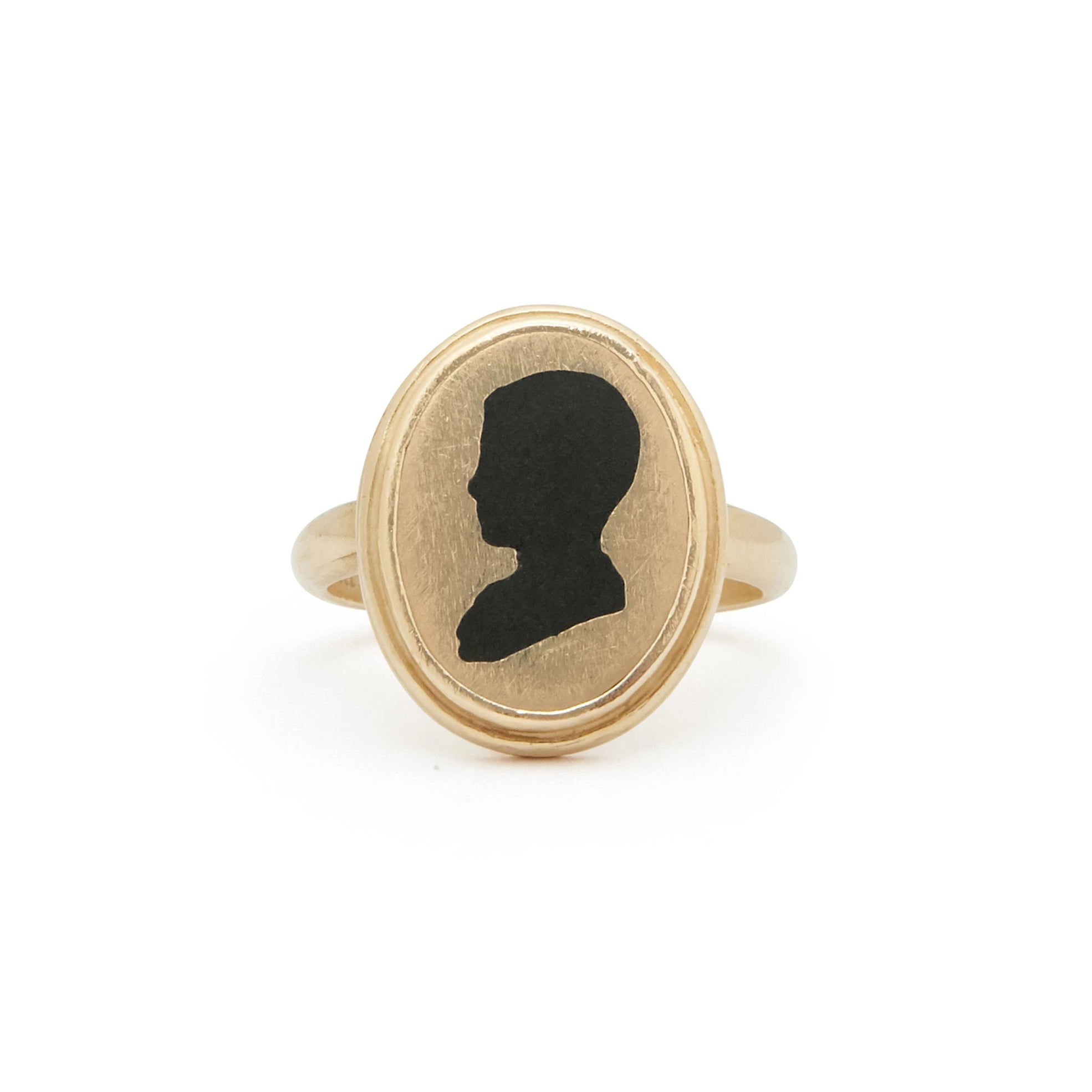 Victorian Silhouette Black Enamel and 14k Gold Ring