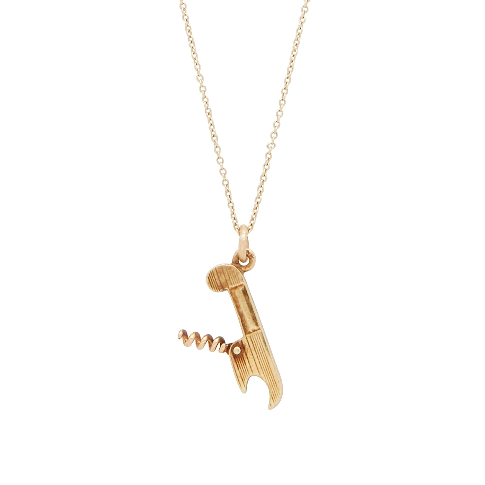Movable 14k Gold Corkscrew Charm
