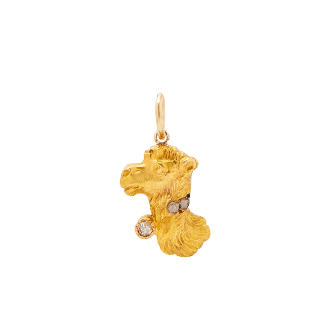 Victorian Camel With Diamond Collar 14k Gold Charm