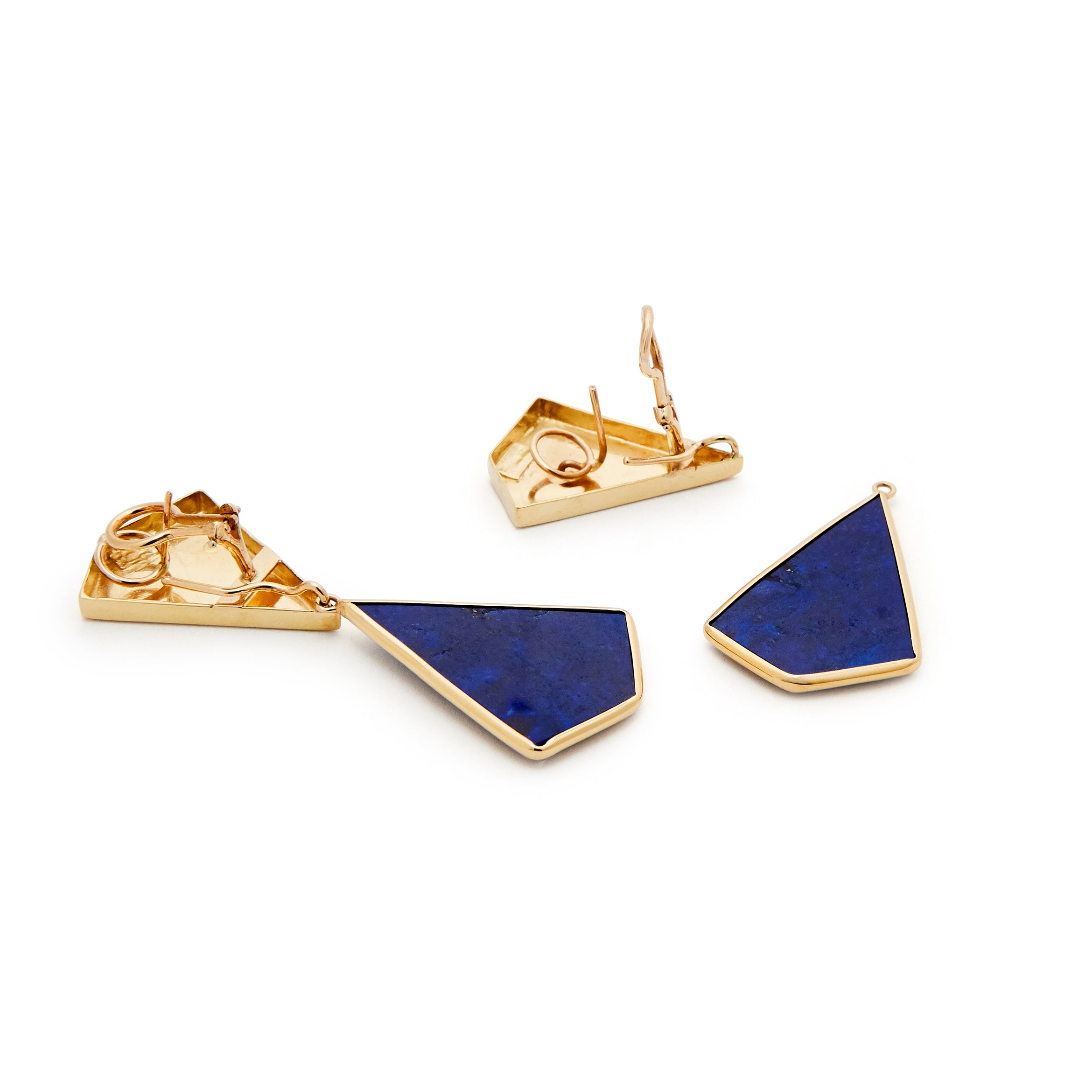 Lapis Lazuli And Gold Day/Night Dangle Earrings