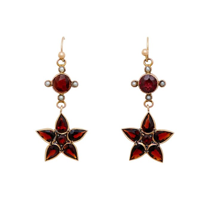 Garnet And Pearl Floral Dangle Earrings