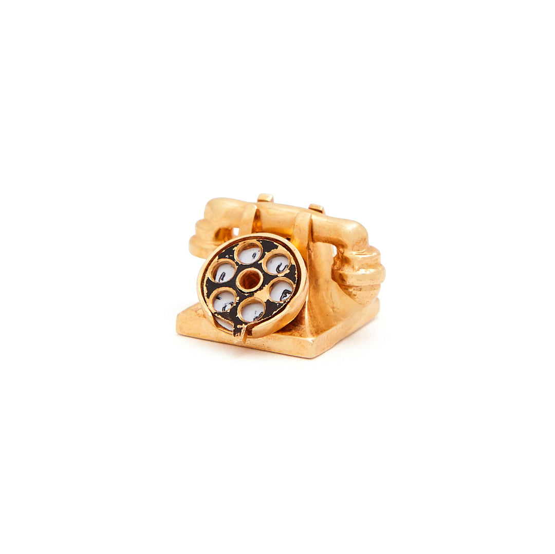 Rotary Phone Movable 14k Gold Charm