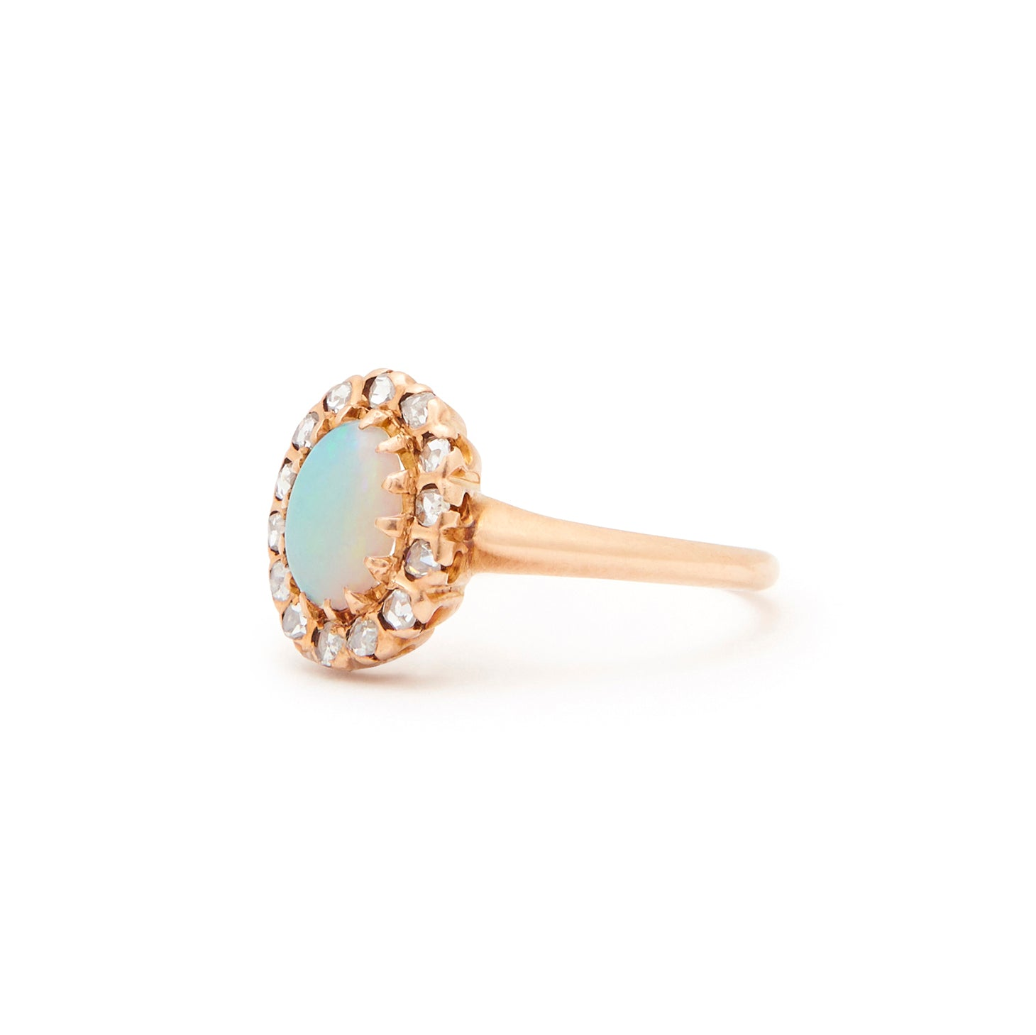 Victorian Opal And Rose Cut Diamond Cluster 14k Gold Ring