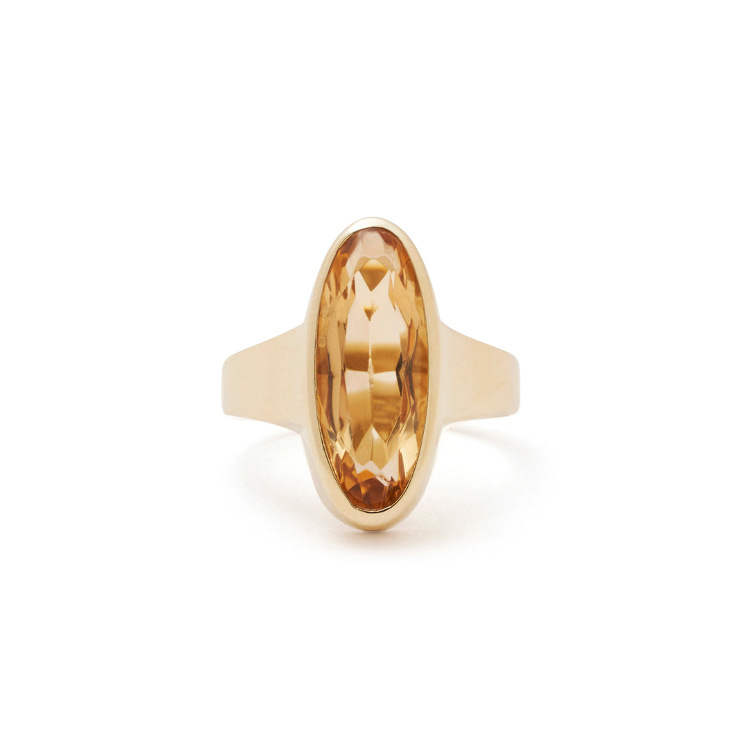 Modernist Citrine And Gold Ring