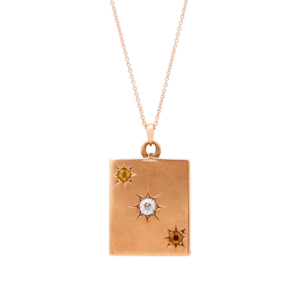 Victorian 14K Rose Gold Diamond And Citrine Gypsy Locket