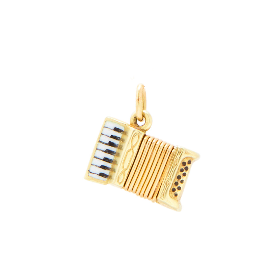 Accordion With Enamel Movable 14k Gold Charm