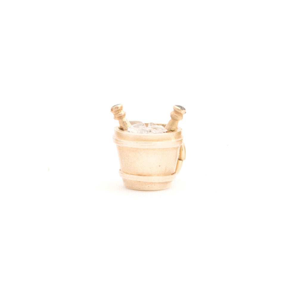 Champagne Bucket With Enamel and 14K Gold Charm