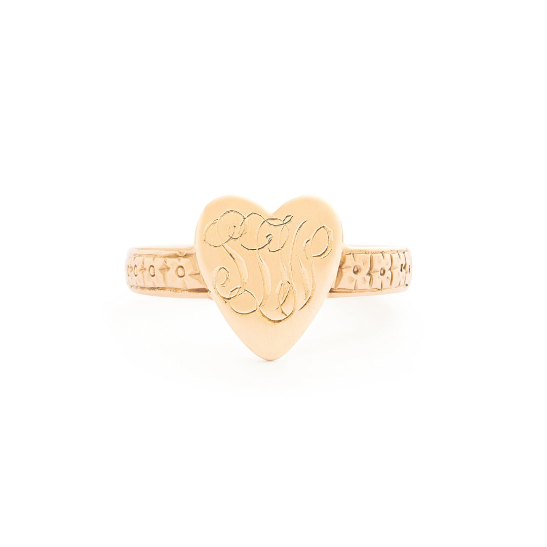Engraved Heart Signet 14k Gold Ring