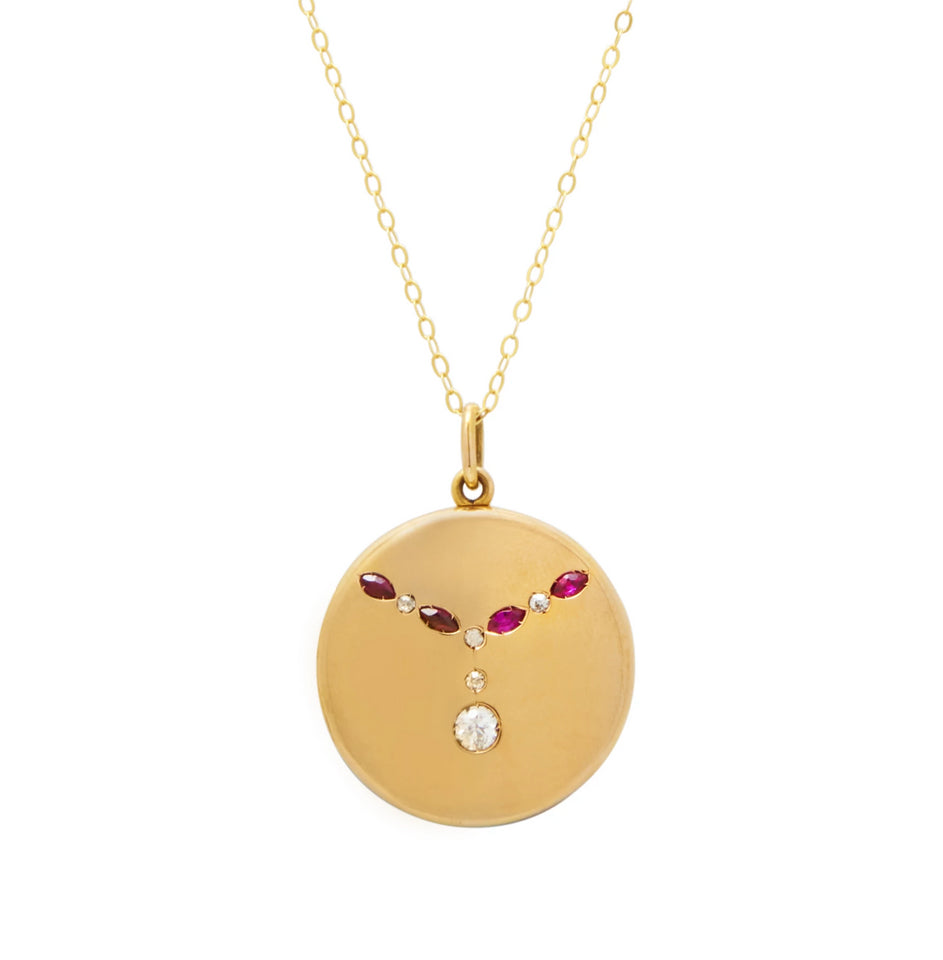 Edwardian Ruby And Diamond 18k Gold Locket