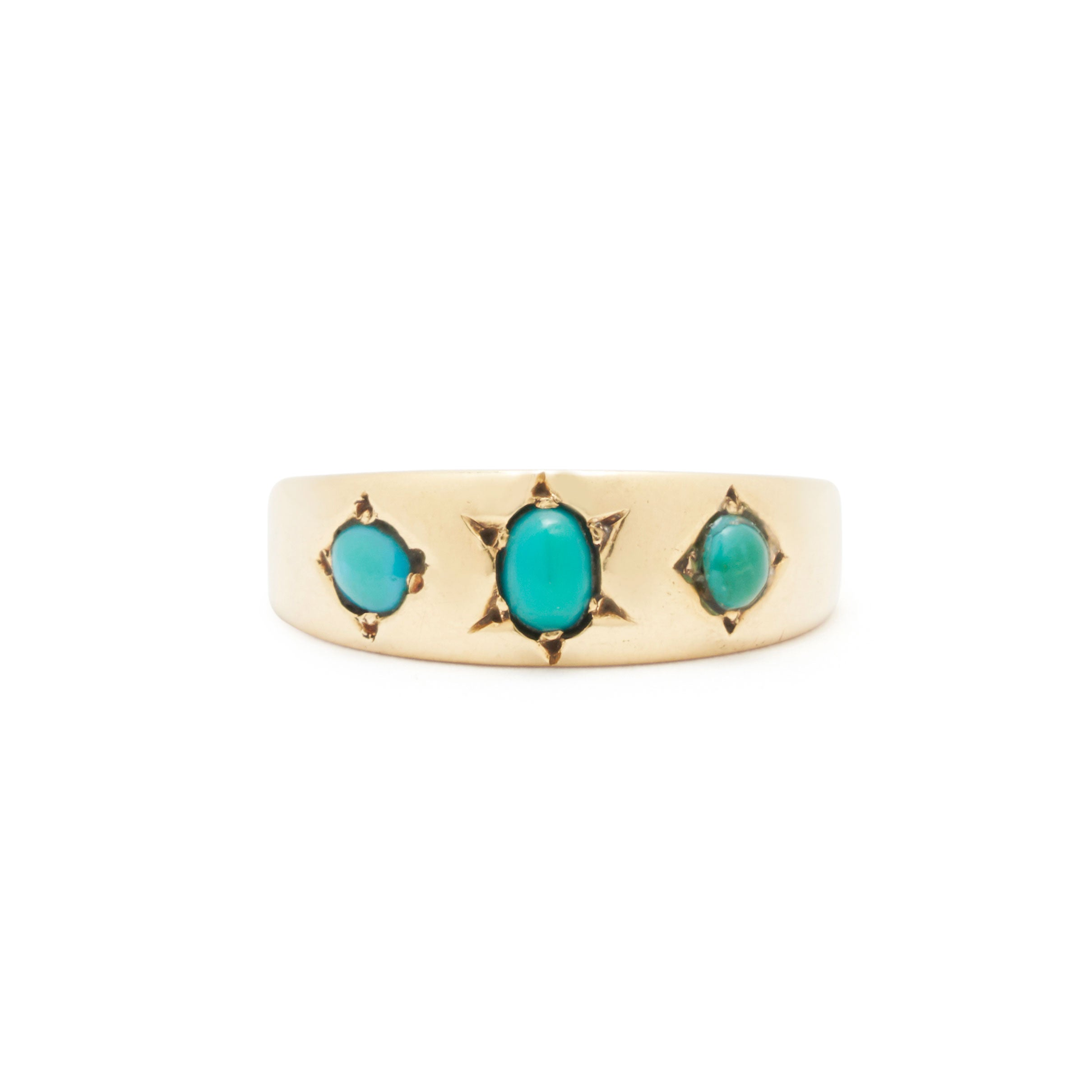 Victorian Turquoise Gypsy Set 18k Yellow Gold Ring