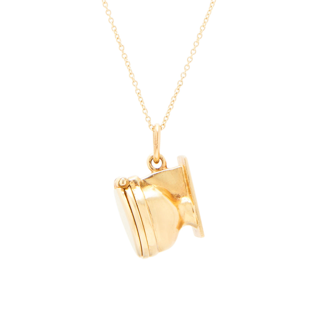 Movable 14K Gold And Enamel Toilet Charm