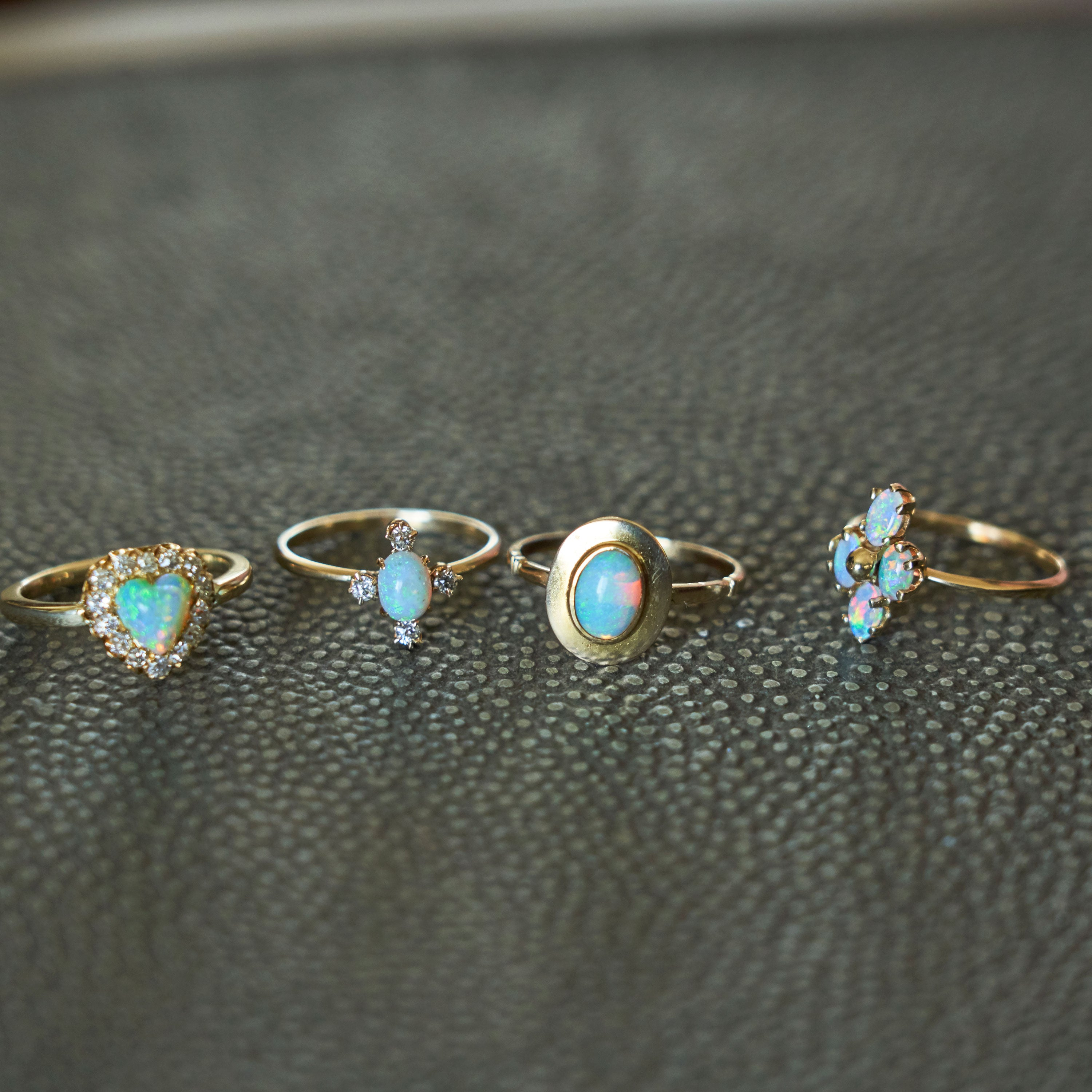 Victorian Opal And Diamond Four-Points Gold Ring