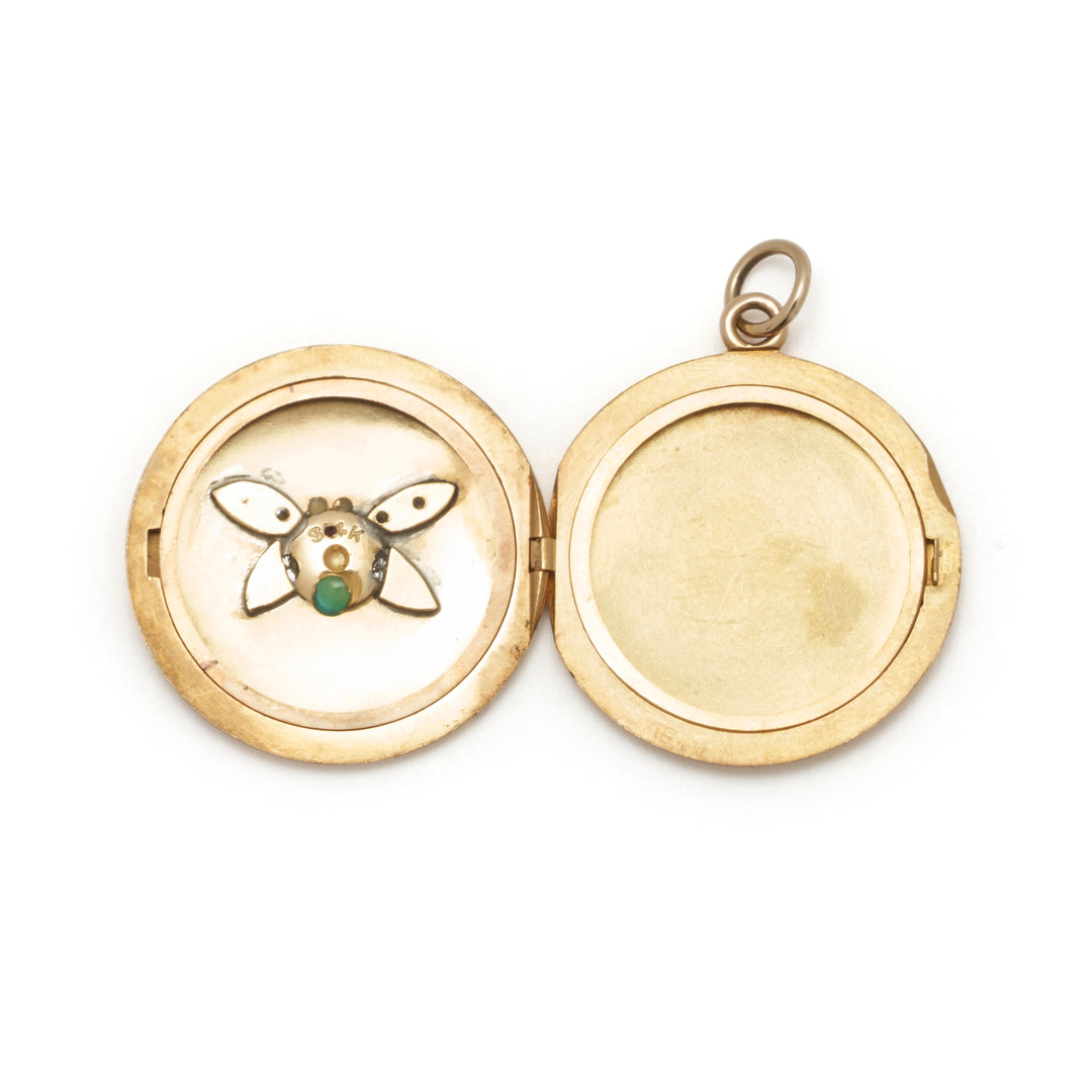 Bug Multi-Stone 14k Gold Locket Necklace