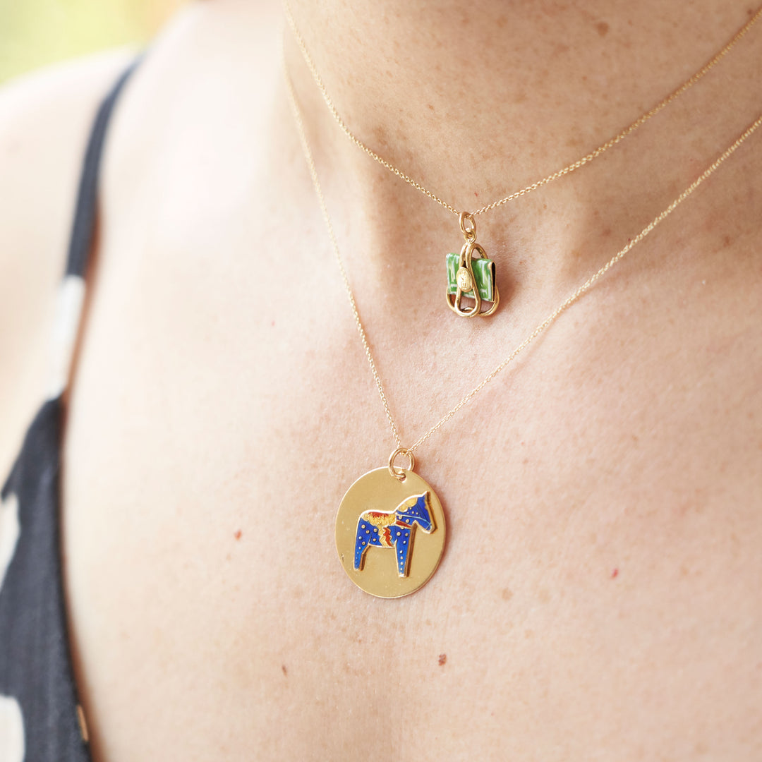 Swedish Dala Horse Enamel And 18K Gold Charm