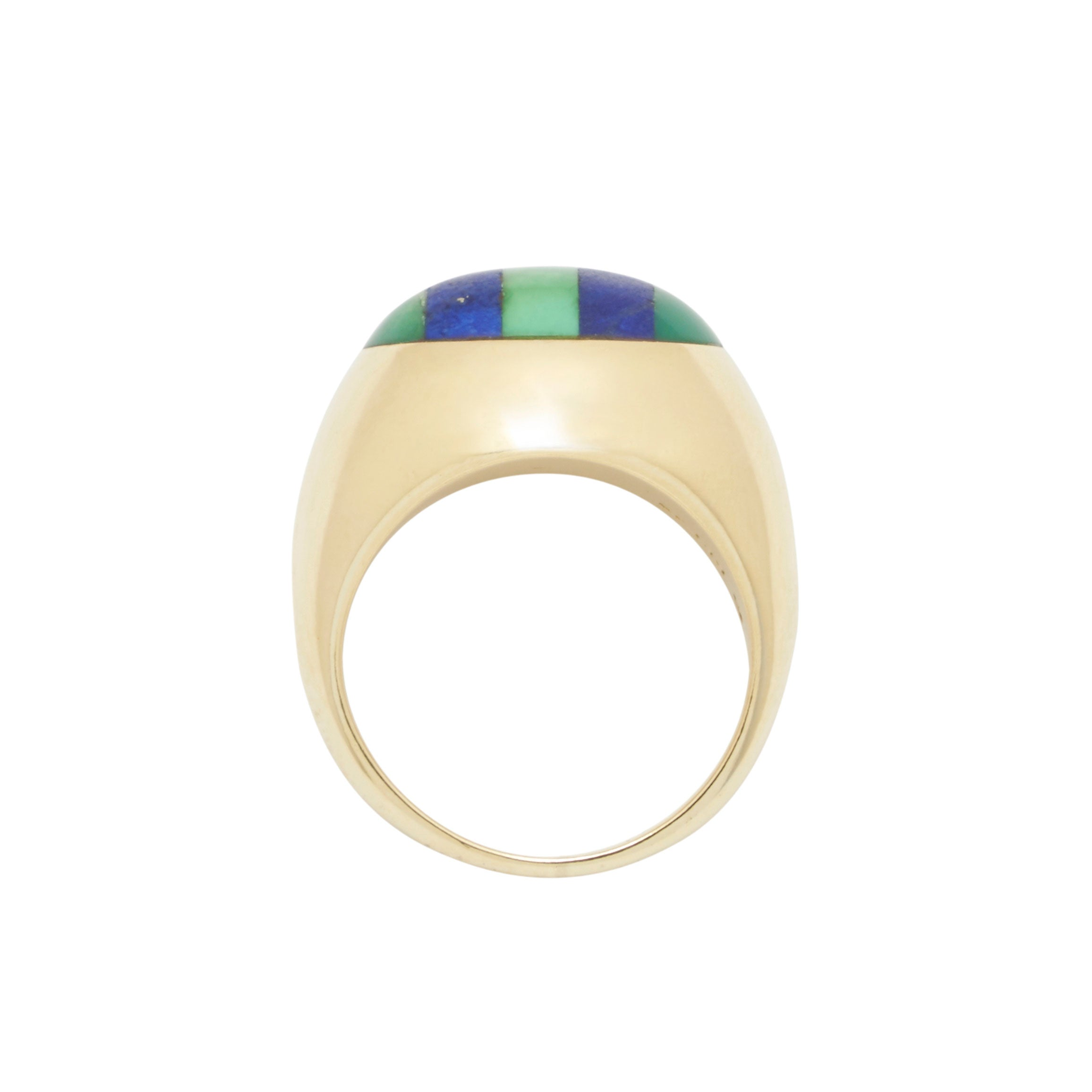 Tiffany & Co Vintage Lapis Lazuli And Jade 18k Yellow Gold Ring