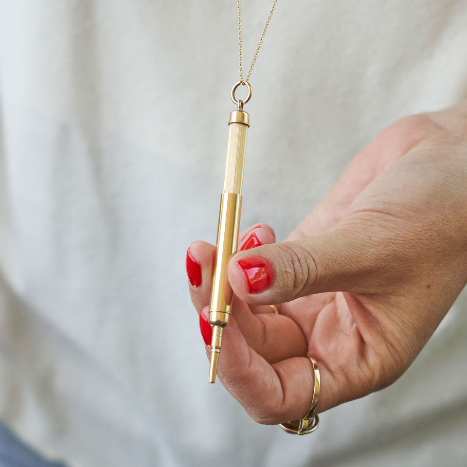 Retractable Pencil 14K Gold Pendant Necklace